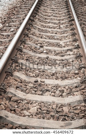 Railway steel and iron. Transportation way.
