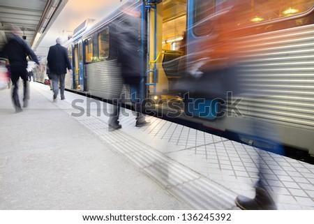 Railway/ subway passengers - stock photo