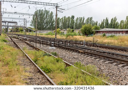 Railway. The nodal junction of railways of Ukraine. Rail transport infrastructure. Reduced logistical burden on the rail during the crisis. - stock photo