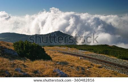 Railway to Schneeberg peak in Austrian Alps - stock photo