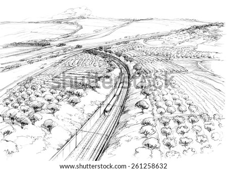 Railway to the hills -1 - stock photo