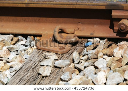 Railway track and it detail installation assemblies. - stock photo