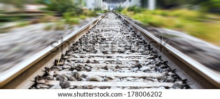 Railway track blurred - stock photo