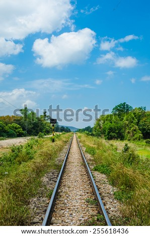 Railway track in a rural scene - stock photo