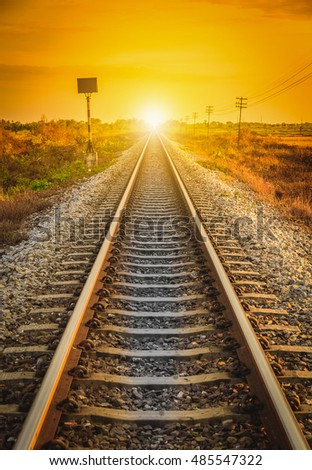 Railway Track in a Rural Scene at sunset time. Selective focus.