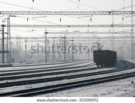 Railway track system in the snow in winter - stock photo