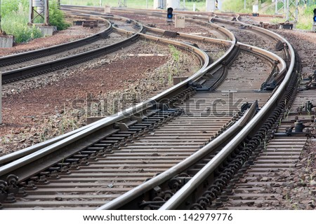 railway track with switches and lights - stock photo