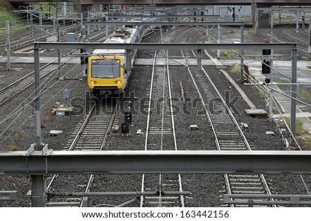 Railway Track with train - stock photo