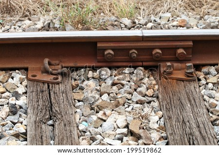 Railway track with wood log support - stock photo