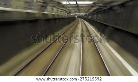 Railway tracks abstract image. - stock photo