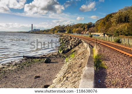 Railway tracks by the Culross Coastline in Scotland - stock photo