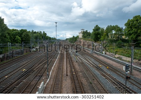 Railway tracks in Helsinki, Finland. - stock photo
