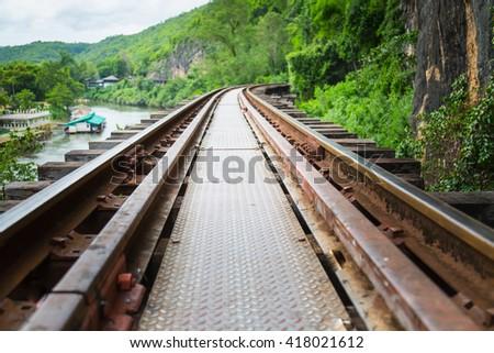 Railway tracks on a hill  - stock photo