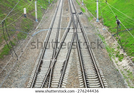 Railway tracks. View from above - stock photo
