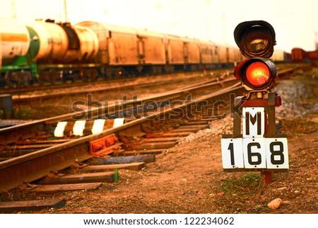 Railway traffic light - stock photo