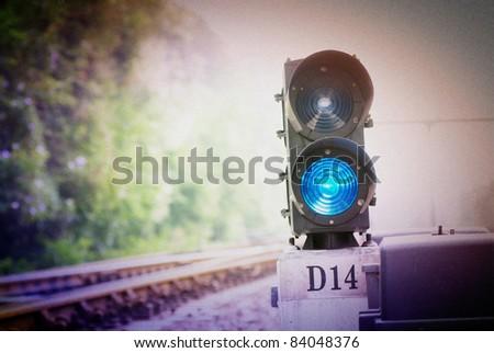 railway traffic lights - stock photo