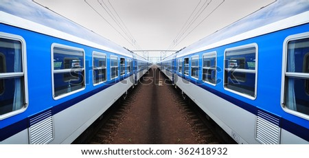 Railway, train railroad vehicle - stock photo