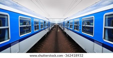 Railway, train railroad vehicle - stock photo
