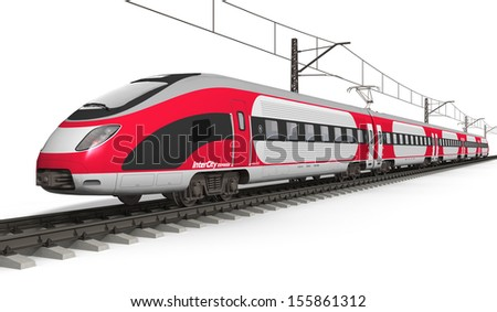 Railway transportation and railroad industry concept: red modern high speed electric streamlined fast train on rail track isolated on white background - stock photo