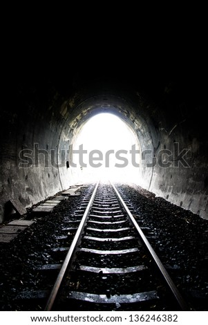 railway tunnel in Thailand - stock photo