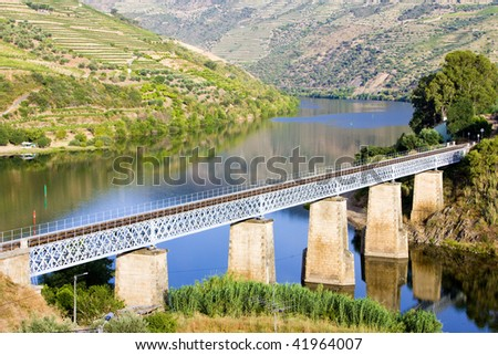 railway viaduct in Douro Valley, Portugal - stock photo