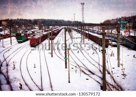 Railway/vintage card with railway tracks - stock photo