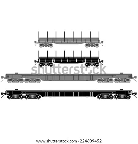 Railway wagons for transportation of goods. The illustration on white background.