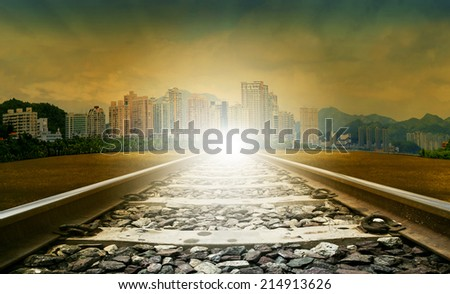 railways and urban scene use for civil development and infra structure construction land transport and train for logistic business - stock photo