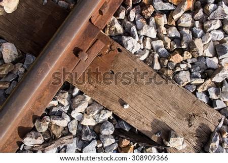 Railways system for diesel train platform,closeup shot. - stock photo