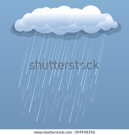 Rain cloud vector blue illustration isolated .Raster - stock photo