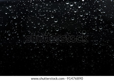 rain drop on abstract black background - stock photo