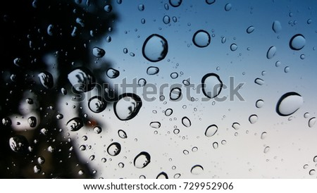 Rain drop on glass  , rainy weather for background