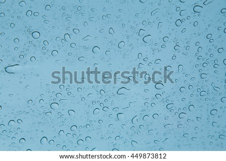 rain drops on blue glass background