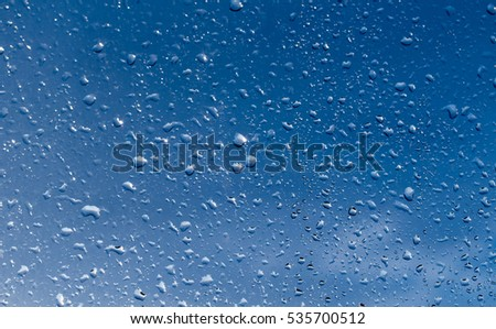 rain drops on glass, blue background