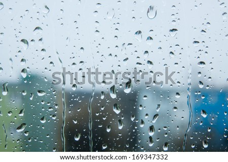 Rain drops on the glass - stock photo