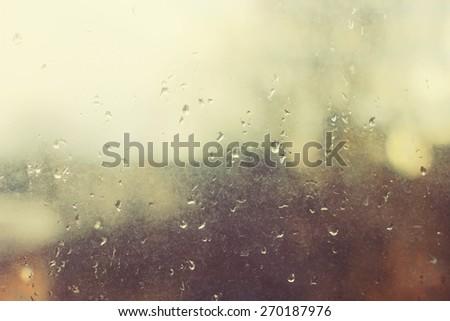 rain drops on window glass - stock photo