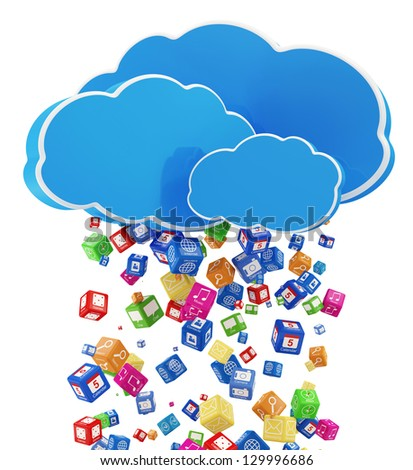 Rain from Application Icons. Cloud Computing Concept - stock photo