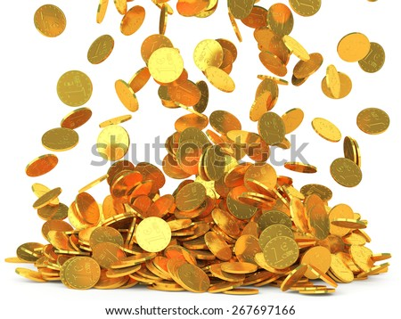 Rain from falling gold coins isolated on white background. Finance concept - stock photo