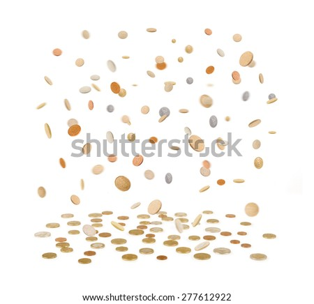 Rain from Golden Coins. Falling Gold Coins Isolated on white background - stock photo