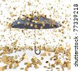 rain from golden coins falling on the open umbrella. isolated on white. - stock photo