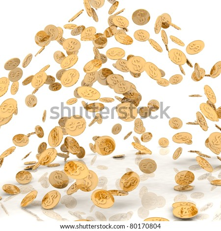 rain from the golden coins - stock photo