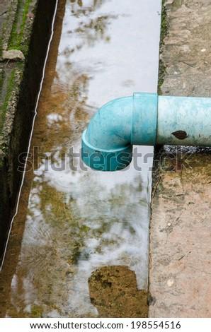 Rain Gutter Draining Water Away From A Roof.