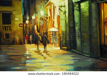 rain in gothic quarter of barcelona, painting by oil, illustration - stock photo
