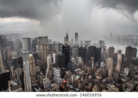 Rain in Manhattan skyline New York City from top of the Empire States Building