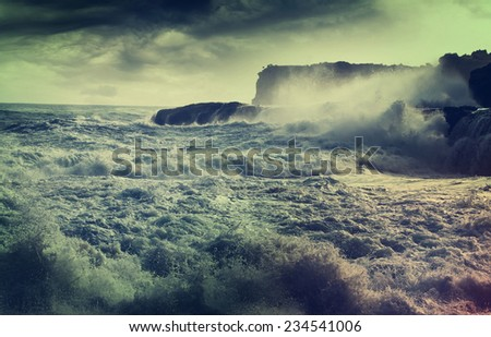 rain in ocean - stock photo