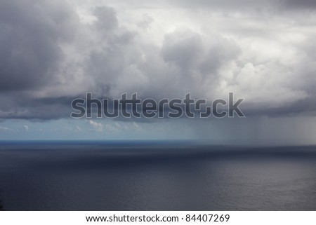 rain in ocean - stock photo
