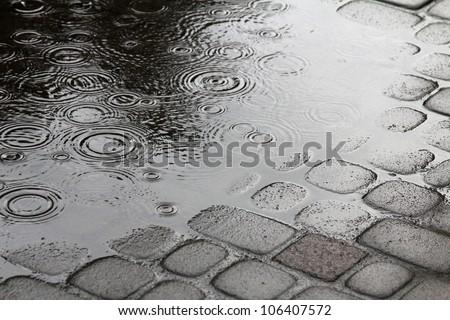 Rain in the city - stock photo