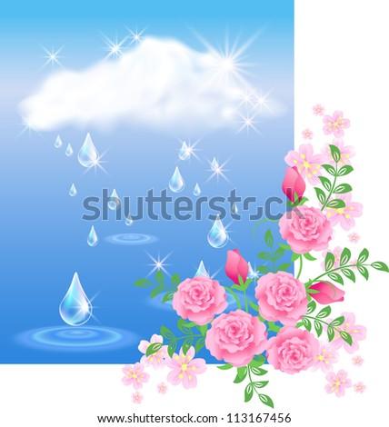 Rain in the dark blue sky and roses. Raster version of vector. - stock photo