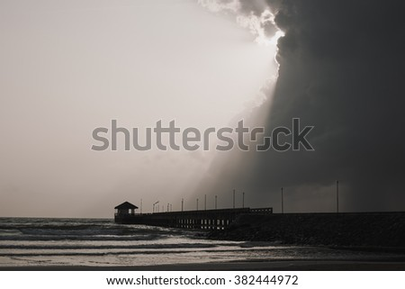 Rain in the sea , storm on the sea  - stock photo