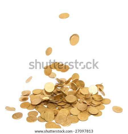 Rain of golden coins isolated on white - stock photo